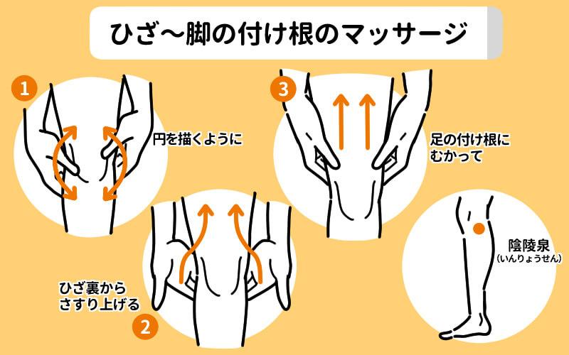 ひざから足の付け根のマッサージ図